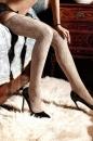 Dolce Vita Чулки светло-бежевые кружевные с роскошным цветочным