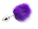 Анальная пробка с пухом (фиолетовая)