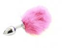 Анальная пробка с пухом (розовая)