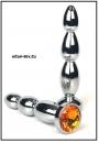 Анальная пробка 'Vander' металл, елочка средняя, кам. оранжевый
