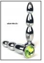 Анальная пробка 'Vander' металл, елочка средняя, светл-зеленый