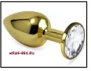 Анальная пробка 'Vander' металл, белый кристалл S, Золотой