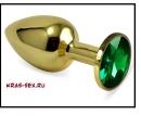 Анальная пробка 'Vander' металл, зеленый кристалл S, Золотой