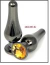 Анальная пробка 'Vander' металл, танго, оранж кристалл L, Чёрный