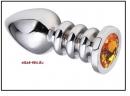Анальная пробка 'Vander' металл, оранж-кам - L, Серебристый