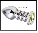 Анальная пробка 'Vander' металл, желтый-кам - L, Серебристый